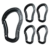Fusion Climb Techno Zoom Military Tactical Edition Aluminum Bent Gate Ergonomic Carabiner Black 5-Pack