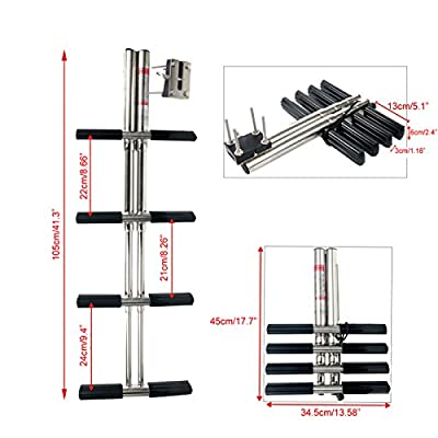 Amarine-made Heavy Duty 4 Steps Boat Marine Dual Vertical Telescoping Tube Stainless Steel Sport Diver Ladder With Mount- 4 Steps - M1085S4