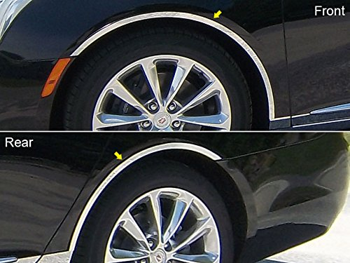 Stainless Steel Wheel Well Trim (XTS 2013-2018 CADILLAC (4 Pc: Stainless Steel Wheel Well Accent Trim w/ 3M Adhesive & Black Rubber Gasket, 4-door) WQ53245:QAA)