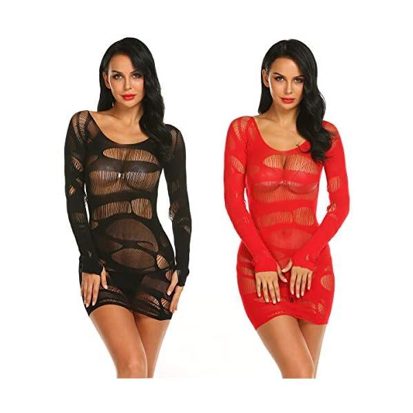 LOVELYBOBO 2 Pack Femmes Rayé Lingerie Résille Mini Robe Sexy Vêtements De Nuit Crotchet Mesh Creuser Mini Robe Nuisette…