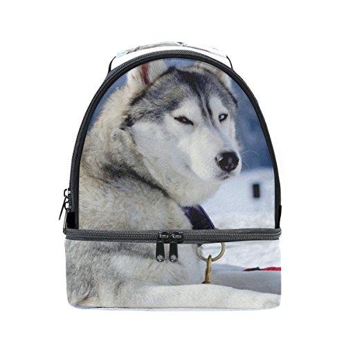(La Random Insulated Lunch Boxes Siberian Husky Reusable Cooler Tote Lunch Bag Portable Shoulder Strap Bag Zip Closure Durable for Kids Women Men Girls Boys)