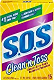 S.O.S. Clean and Toss Steel Wool Soap Pads, 15 Count (Pack of 6)