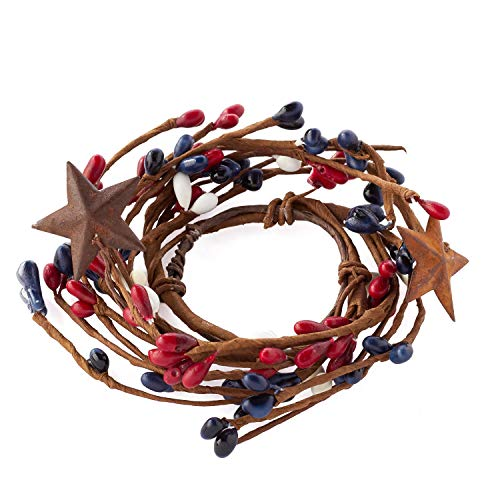 Rings Berry Star Candle - KMI International Set of 4 Hand Wrapped Mini Candle Rings with Red, White, and Blue Pip Berries and Rusty Stars