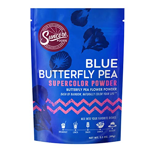 Suncore Foods - Premium Blue Butterfly Pea Supercolor Powder, 3.5oz each (1 Pack) - Natural Butterfly Pea Flower Food Coloring Powder, Plant Based, Vegan, Gluten Free, Non-GMO