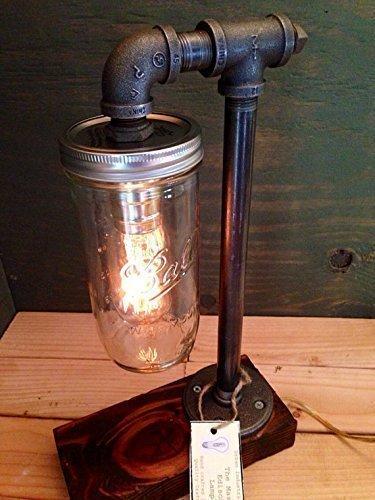 Captivating Mason Jar Industrial Steampunk Table Pipe Lamp With Radio Edison Bulb And  Red Mahogany Wood Base