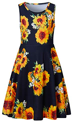 BFUSTYLE Girls Sundresses Summer Sunflower Tank Playwear Skater Dress Black Yellow Sleeveless Casual Twirl Frocks for Kid Girl, 4-13 Years