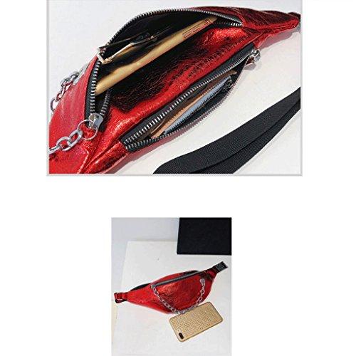 GuoFeng Nuevo Bolso de Verano, Bolso de Mensajero Coreano Femenino, Bolso de Cintura, Bolso de Hombro. (Color : Black) Red
