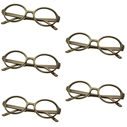 5 X FancyG® Retro Geek Nerd Style Oval Round Shape Glass Frame NO LENSES - Matte - Style Glasses Geek