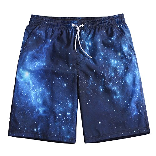 SULANG Men's Lightweight Quick Dry Nebula Graphic Board Shorts Small 31-32