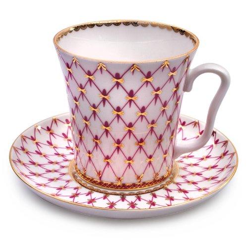 (Imperial / Lomonosov Porcelain 'Net-Blues' Mug w/ Saucer)