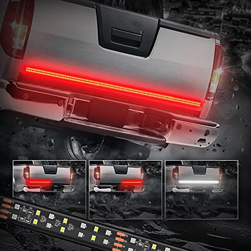- MICTUNING 60 Inch 2-Row LED Truck Tailgate Light Bar Strip Red White Reverse Stop Turn Signal Running for SUV RV Trailer
