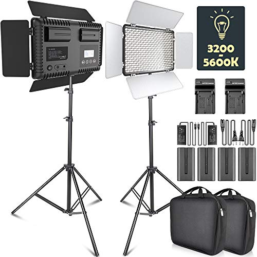 - LED Video Light, SAMTIAN Dimmable Bi-Color 600 LED Studio Lights Lighting Kit: 3200K-5600K LED Panel Light with Barndoor, 2M Light Stand for YouTube Studio Photography Video Shooting
