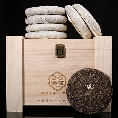 Dian MaiClassical Collection 2005 Anonymous Spring Tip 12 Years Kunming Dryware 200g10 Cake Total 2000G Send Collection Wooden Box 经典收藏2005年无名春尖 12年昆明干仓200克10饼共2000G 送收藏木箱 by Dian Mai 滇迈