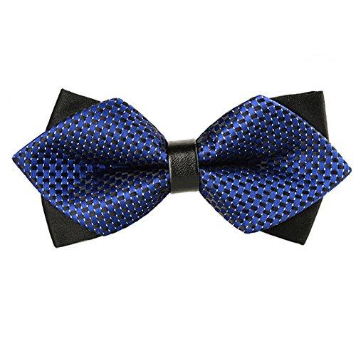 Ysiop Men Pre-tie Double Layers Bow Tie British Stripe Sequin Cravat Bowties Adjustable with Gift Box 1