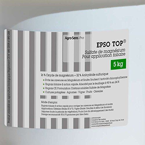 Agro Sens - Abono hojas Sulfato de magnesio Epso Top® 5 kg: Amazon.es: Jardín