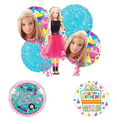 Barbie Doll Party Supplies and Birthday Balloon Bouquet Decorations]()