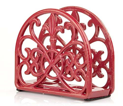 - Home Basics Cast Iron Fleur De Lis Napkin Holder, Red