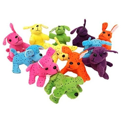 Kicko Plush Dogs Neon 4 Inches 12 Pieces - Assorted Colors Stuffed Dogs - for Kids - Great Party Favors, Fun, Toy, Gift, Prize
