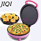 JIQI Electric Crepe Maker mini Pizza baking Bakery cooking Machine Multifunctional Muffin Pancake cake Baked Machine EU US plug (Pink)