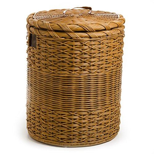 The Basket Lady Round Wicker Hamper   Wicker Laundry Hamper, Extra-Jumbo, Toasted Oat