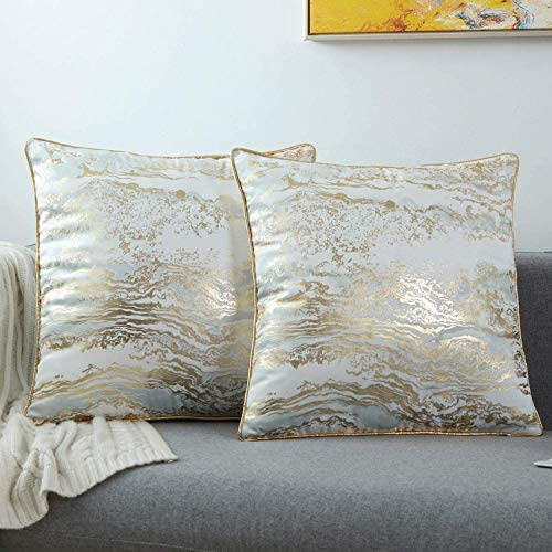 GREAGLE Throw Pillow Covers Cases, Pack of two, Soft Decorative Luxury Velvet Cushion Covers for Living Room/Couch/Bed/Sofa/Chair/Home Decor Decorations, 18 x 18 (18S071-White/Gold)