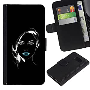 iBinBang / Flip Funda de Cuero Case Cover - Minimalist Girl Black Lips White Pretty - Samsung Galaxy S6 SM-G920