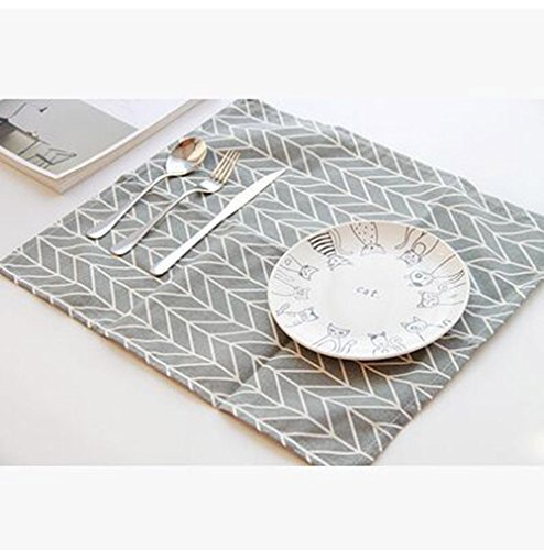 Nordic Style Minimalist Rectangular Large Western Placemat Napkin Insulation Pad Cotton Napkin Gray arrow - Gray Ban