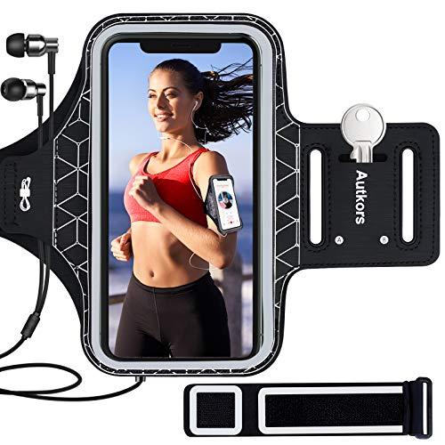 """Autkors Sportarmband Handy für iPhone 12/12 Pro/11/11 Pro/X/XS/XR/7/8 bis zu 6,1"""", Schweißfeste Handytasche Sport Armband mit Verlängerungsband, Kopfhörerloch und Schlüsselhalter"""