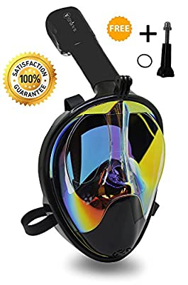 Mask Full Face Snorkel - EasyBreath - 180? Panoramic Seaview - Rainbow Mirror Lenses HD - Design Scuba Mask- Diving Mask - Anti-Leak & Anti-Fog - Adjustable Silicone Straps | Educational Computers
