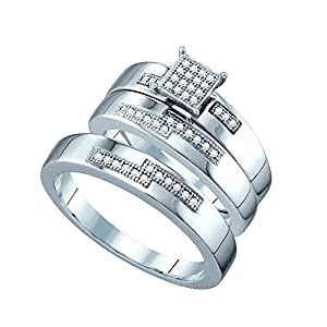 14kt White Gold His & Hers Round Diamond Cluster Matching Bridal Wedding Ring Band Set 1/6 Cttw
