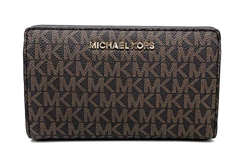 Michael Kors Jet Set Travel Slim Bifold Signature PVC Leather Wallet, Brown/Acorn