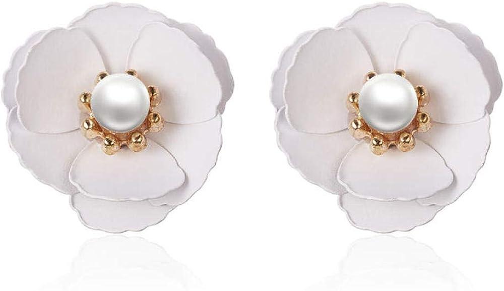 Blanco Azul Rosa Flor Pendientes Para Las Mujeres Perlas Pendientes de la Planta Pendientes Pendientes Anillo de Oreja Pendientes Flor de Cerezo Joyas