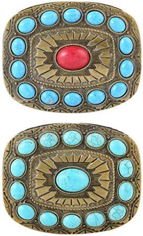 Chiwanji 2 x Gesp Vintage Tribal Western Turquoise gesp Brons gegraveerd Boho