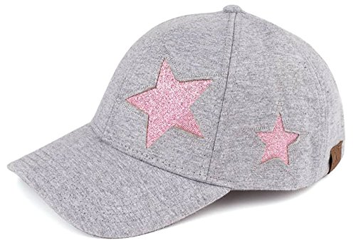 H-206-4221 Cotton Glitter Womens Classic Baseball Cap - Star Design (Grey)