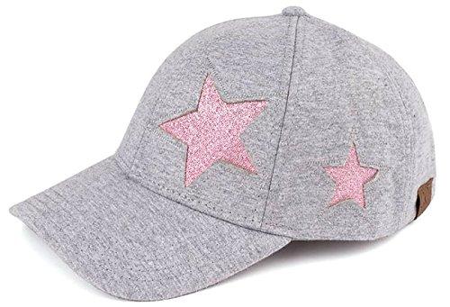 H-206-4221 Cotton Glitter Womens Classic Baseball Cap - Star Design (Grey)