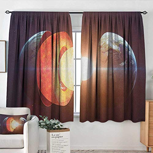 Insulated Sunshade Curtain Earth,Core of The Earth Structure Burning Magma Geomagnetic Tectonic Split, Orange Pale Yellow Indigo,Darkening and Thermal Insulating Draperies ()