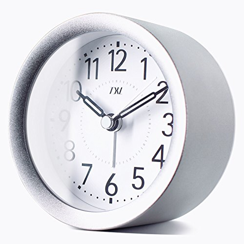 TXL 4 inch Round Silent Sweep Analog Alarm Clock Non Ticking, Gentle Wake, Beep Sounds, Increasing Volume, Battery Operated Snooze and Light Functions, Easy Set Small Desk Clock, (Aluminum Desk Clock)