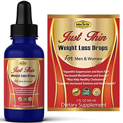 Just Thin Thermogenic Weight Loss Drops Supplement For Women & Men, Best Fat Burner Product, Breakdown Fat Cells, Fast Boost Metabolism or Money Back Guarantee by Golden Life USA