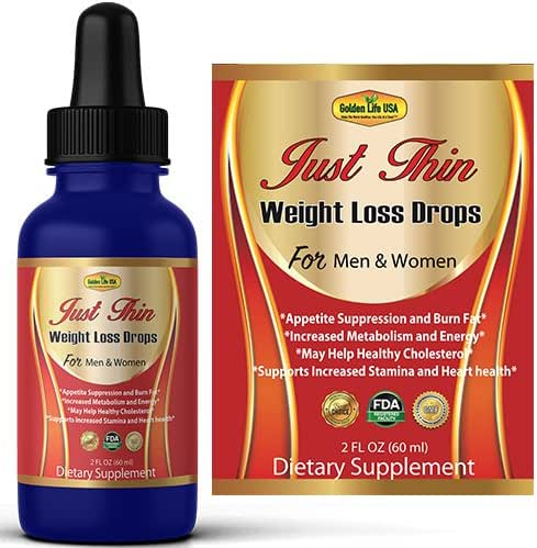Just Thin Thermogenic Weight Loss Diet Drops Supplement for Women & Men, Best Fat Burner Product, Breakdown Fat Cells, Fast Boost Metabolism or Money Back Guarantee by Golden Life USA