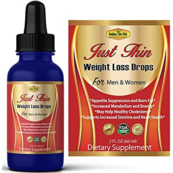 Just Thin Thermogenic Weight Loss Diet Drops Supplement for Women & Men, Best Fat Burner Product, Breakdown Fat Cells, Fast Boost Metabolism or Money Back ...
