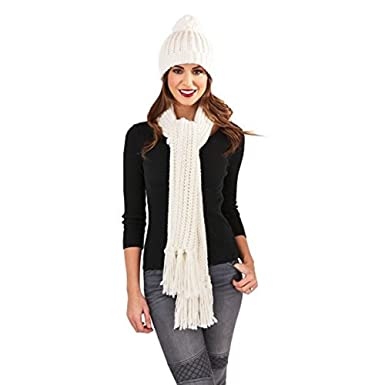 9230c27cd43 Ladies Chunky Aran Cream   Silver Thread Luxury Beanie   Bobble Hat   Scarf  Set