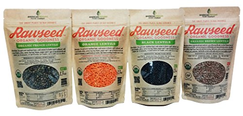 Rawseed Lentils, Black,Orange,Brown,French 4 Pack 13 Oz 1 of Each One,Organic Certified.Multicolor