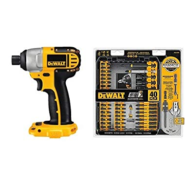 DEWALT DC825B 1/4-Inch 18-Volt Cordless Impact Driver (Tool Only) with DEWALT DWA2T40IR IMPACT READY FlexTorq Screw Driving Set, 40-Piece