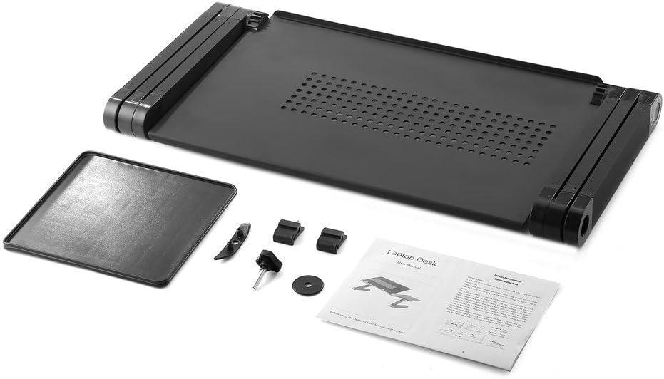 Kiss Table pliante en alliage daluminium l/ég/ère avec plateforme /à souris Noir