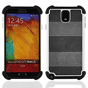 - Minimalist Stitched Leather Pattern/ H??brido 3in1 Deluxe Impreso duro Soft Alto Impacto caja de la armadura Defender - SHIMIN CAO - For Samsung Galaxy Note3 N9000 N9008V N9009