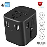 Travel Adapter All In One Universal Travel Adapter Worldwide Power Plug 4.5A 4USB Charging Ports Power IQ Fast Charge Universal AC Socket Wall Charger for Cell Phone Power Converter Adaptor (4 USB)