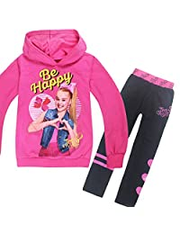 "Wazonton JoJo Siwa Hoodies Casual Shirt Tops and Trouser Printed with ""Be Happy"""