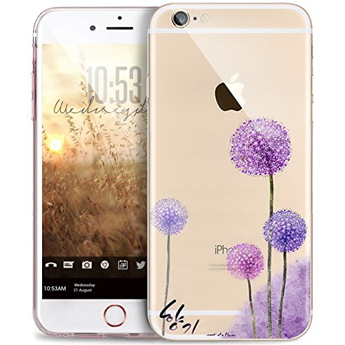 """Price comparison product image iPhone 7 Plus Case, ikasus Scratch-Proof Ultra Thin Crystal Clear Rubber Gel TPU Soft Silicone Bumper Case Cover with Shockproof Protective Case for iPhone 7 Plus 5.5"""" [Purple Dandelion]"""