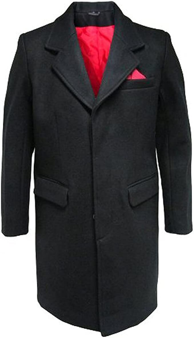£85 NEW MENS NAVY BLUE 3//4 LENGTH WOOL OVERCOAT WARM WINTER COAT CROMBY STYLE