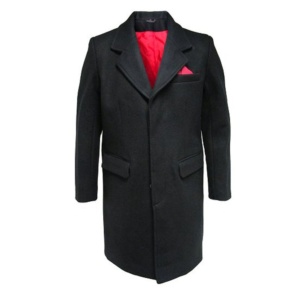 Men's Vintage Style Coats and Jackets Relco Men`s Overcoat Black With Red Lining £174.99 AT vintagedancer.com